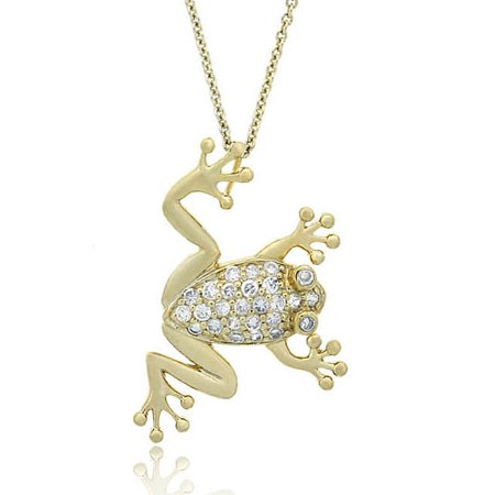 ICZ Stonez  18k Gold over Sterling Silver CZ Frog Slide Necklace