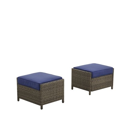 Peace Ottoman - Better Homes & Gardens Mayers Bay 2 Piece Ottoman Set with Navy Cushions
