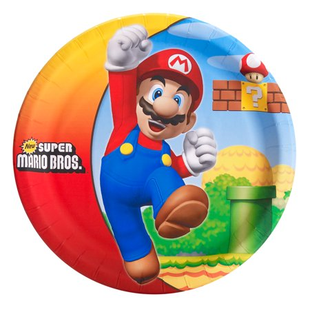 Super Mario Plates (Super Mario Brothers Party Supplies 24 Pack Lunch)