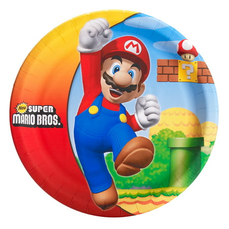 Super Mario Brothers Party Supplies 24 Pack Lunch Plates (Super Mario Brothers Decorations)