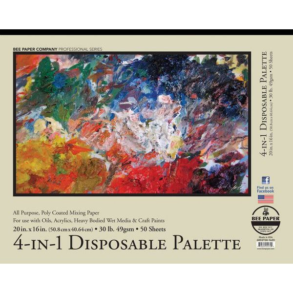 """Bee Paper 4-In-1 Disposable Palette Pad 20"""" x 16"""""""