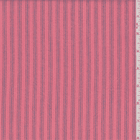 Pink Coral Stripe Ticking, Fabric By the Yard