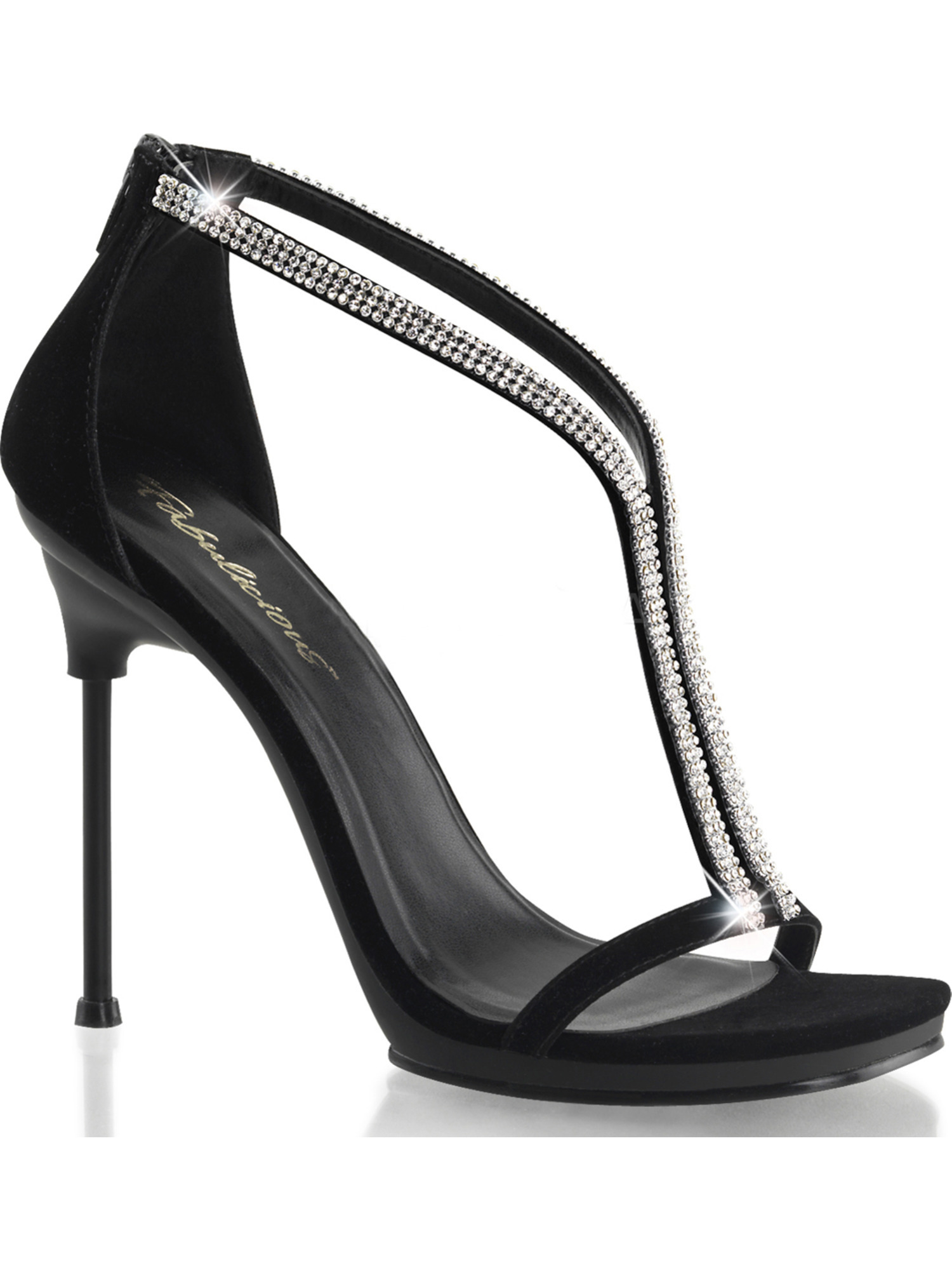 Women Black Velvet and Rhinestone T-Strap Sandals Dress Shoes with 4.5'' Heels