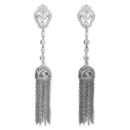 Copper Crystal Earrings - Zerodis 2 Colors New Arrival Copper Ear Drop Long Chain Tassel Earrings with Crystal Rhinestones, Copper Ear Drop, Dangle Earring