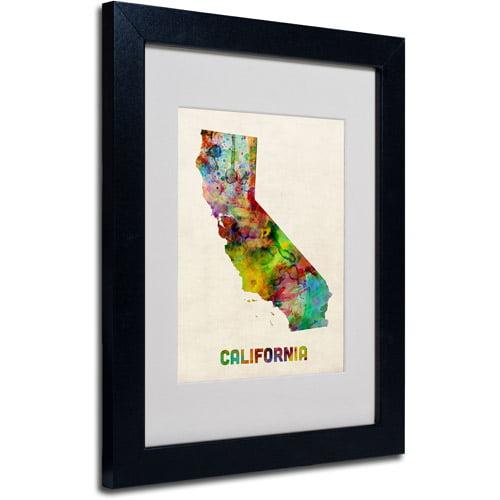 """Trademark Fine Art """"California Map"""" Matted Framed Art by Michael Tompsett, Black Frame"""