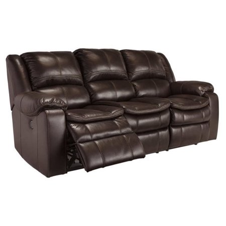 Ashley Long Knight Faux Leather Reclining Sofa In Brown