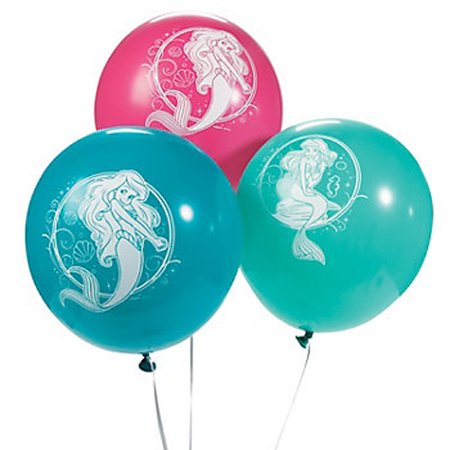 Ariel the Little Mermaid Sparkle Latex Balloons (6ct) - Latex Mermaid
