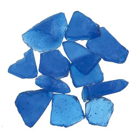 Floral Frosted Sea Glass Dark Blue 1 Pound