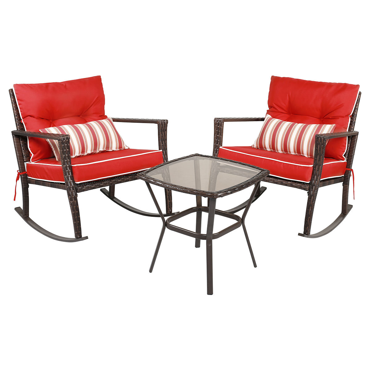 GHP Outdoor 3-Pcs Durable and Sturdy Rattan Rocking Chair Furniture Set w Red Cushion