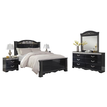 Ashley Furniture Constellations 5 PC E King Poster Bedroom Set w/ 2  Nightstands Black