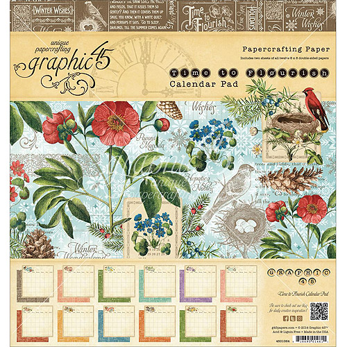 "Graphic 45 Paper Pad, 8"" x 8"", 24pk, Time To Flourish Calendar"