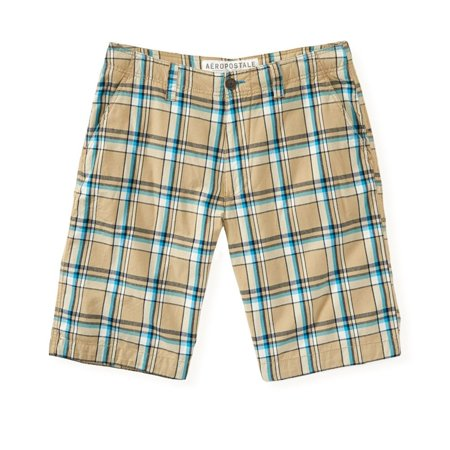 Aeropostale Mens Plaid Flat-Front Casual Bermuda Shorts
