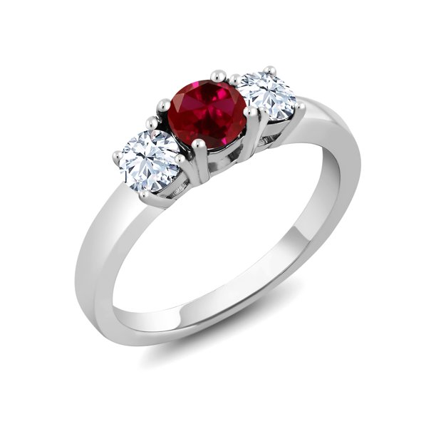 925 Sterling Silver 1.00 Ct Round Red Created Ruby 3-Stone Ring