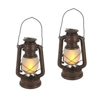 9.5-Inch Tall Brown Hurricane-Style Camping Lantern with FireGlow™ and Dimmer Switch (Set of 2)
