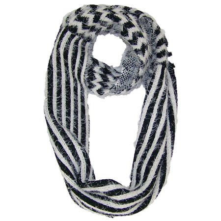 Best Winter Hats Chevron & Striped Design Reversible Infinity Scarf (One Size) -
