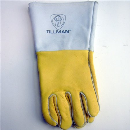 Tillman Medium 14'' Gold Top Grain Elkskin Cotton/Foam Lined Super Premium Grade Stick Welders Gloves With Reinforced Straight Thumb, Stiff Cowhide Cuff, Welted Finger, Kevlar Lock Stitching And Pu