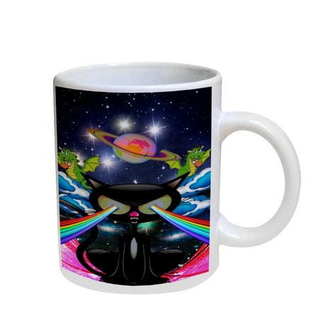 KuzmarK Coffee Cup Mug Pearl Iridescent White - Kitty Cat Rainbow Laser (Cat Eye Pearl)