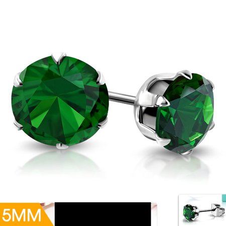 5mm Stainless Steel Prong Set Round Circle Stud Earrings with Emerald CZ (Round Emerald Earrings Set)