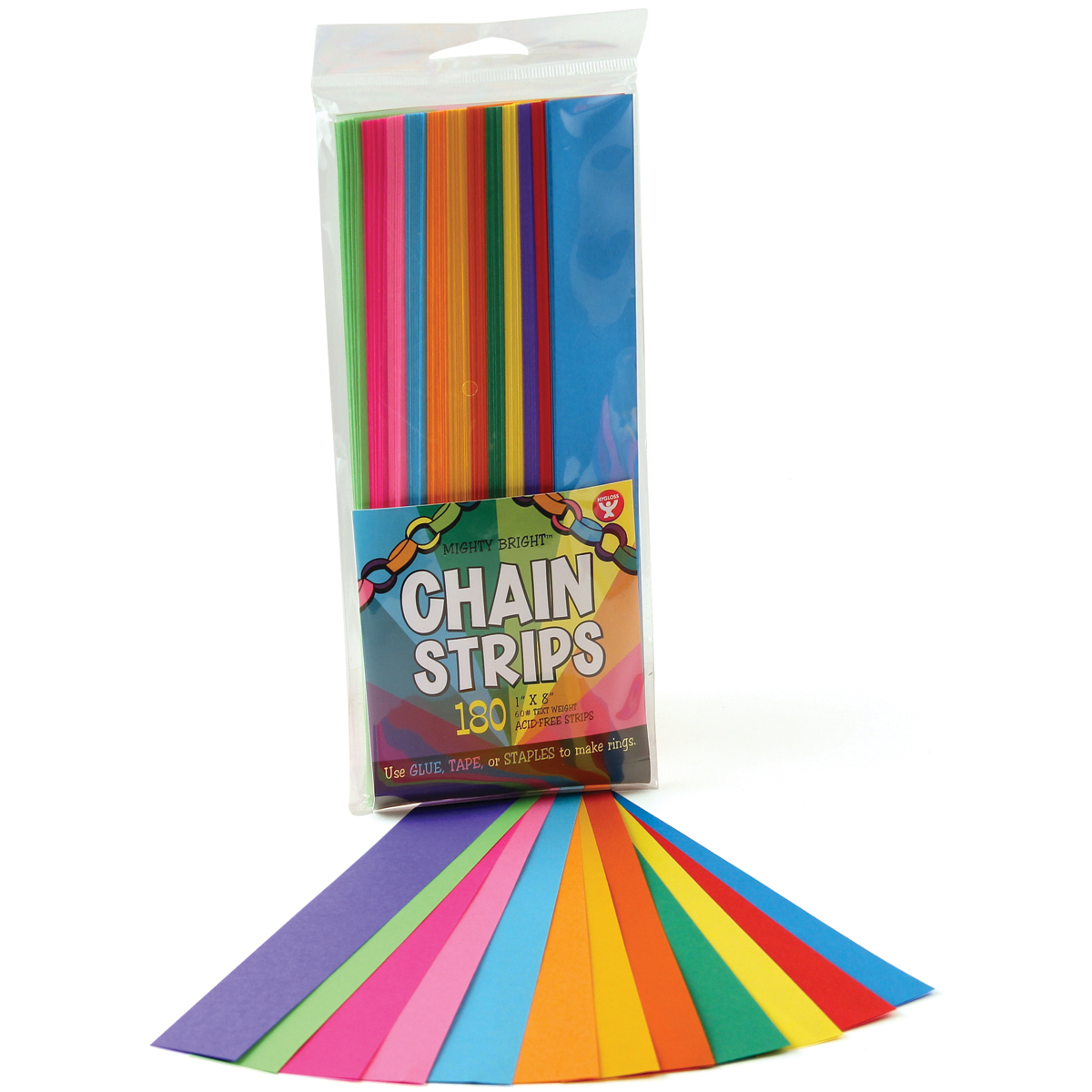 "Mighty Bright Chain Strips, Assorted Colors, 1"" x 8"", 180pk"