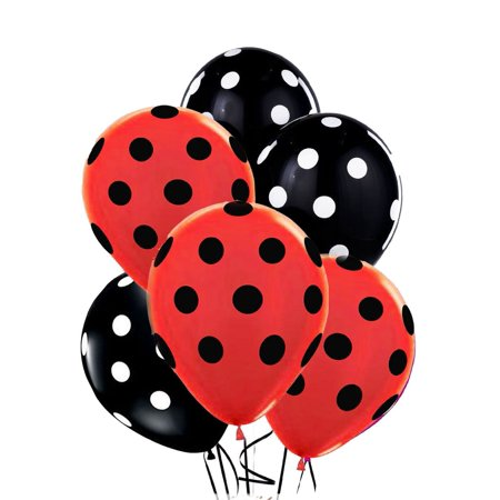 Polka Dot Balloons 11inch Premium Black and Red with All-Over Print White and Black Dots Pkg/12, Superior Quality - Longer Lasting - Brilliant.., By PMU - Red And Black Polka Dot Balloons