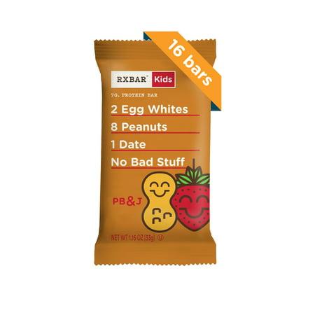 RXBAR Kids, Peanut Butter & Jelly, Gluten Free Protein Bars, 1.16oz Bars, 16 (Peanut Butter And Jelly Oatmeal Breakfast Bars)