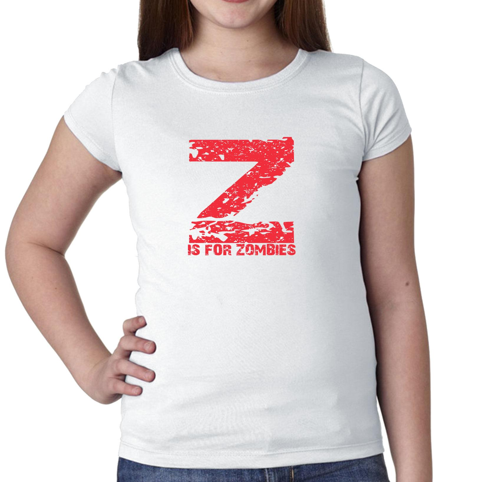 Z Is For Zombies - Red Large Print Trendy Girl's Cotton Youth T-Shirt