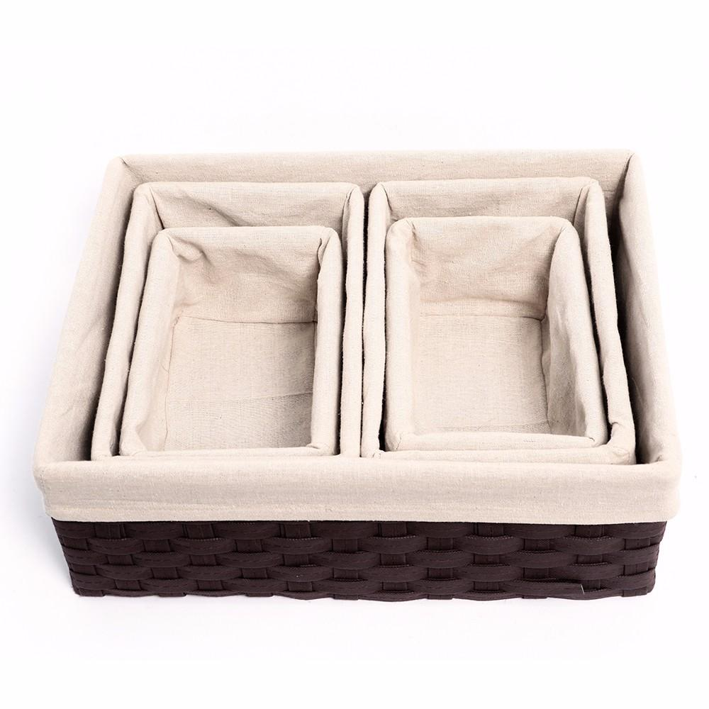 Yaheetech Houseware Storage Cube Basket Bin 5 Pack Box Organizer Closet Solution, Brown