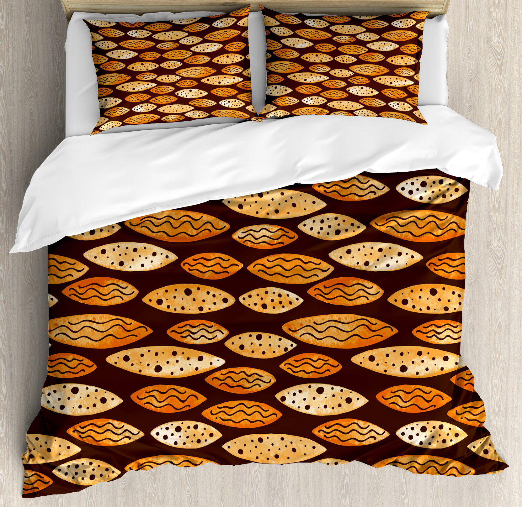 Abstract Queen Size Duvet Cover Set, Geometrical Pattern With Orange  Watercolor Shapes Spots Waves Hand