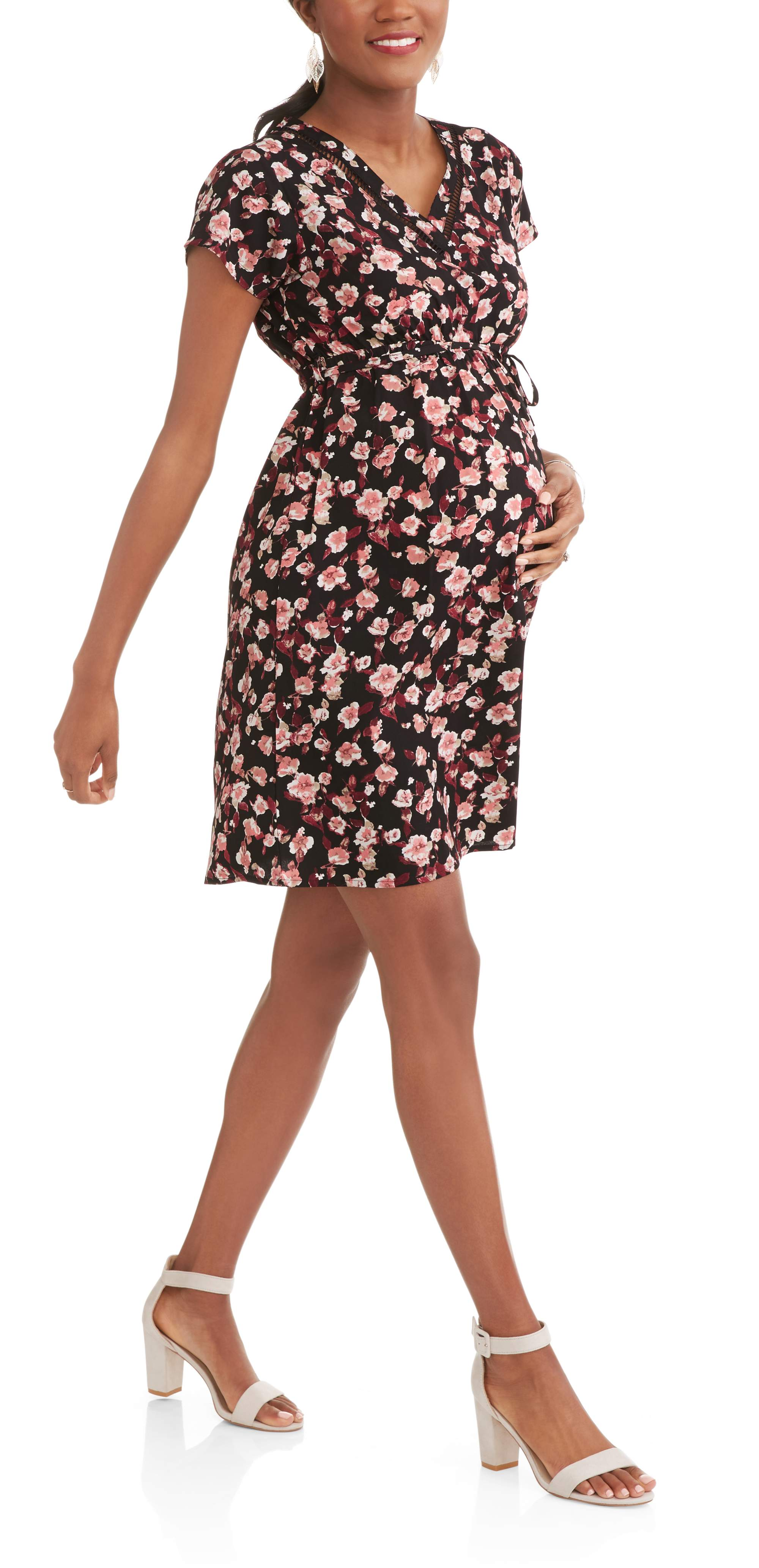 Maternity Ladder Trim V-Neck Floral Dress-- Available In Plus Size by GREEN SOURCE APPAREL INC