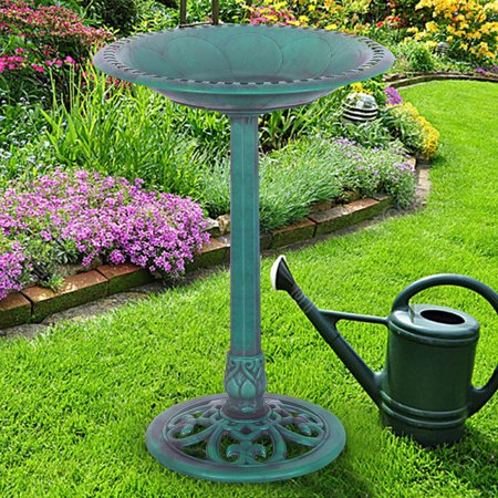Costway Green Pedestal Bird Bath Feeder Freestanding Outdoor Garden Yard Patio Decor (Outdoor Yard Decor)