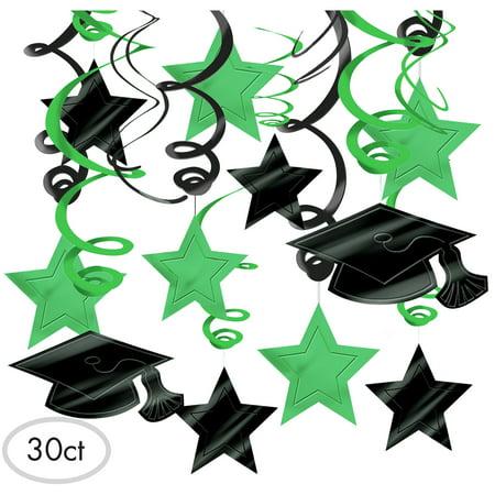 Mega Swirl (Amscan 679491.03 Hanging Foil Swirl Mega Value Pack Decoration, One Size, Green )