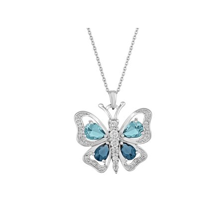 Sterling Silver Plated Simulated Blue Topaz with CZ Accents Butterfly Pendant, -