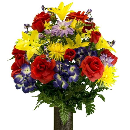 Red Rose and Purple Hydrangea Mix Artificial Bouquet, featuring the Stay-In-The-Vase Design(c) Flower Holder (LG2091) (Gala Bouquet Holder)