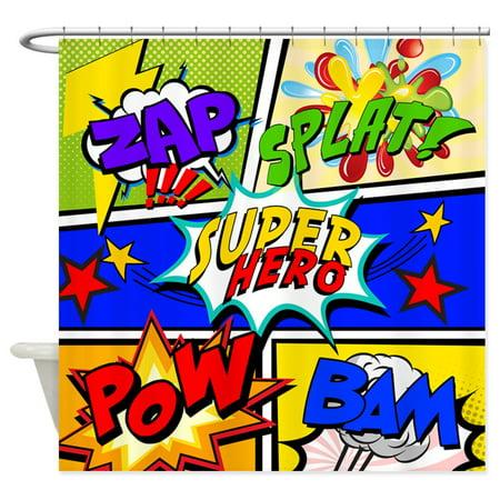 CafePress - Superhero Comic Book - Unique Cloth Shower - Superhero Shower Curtain