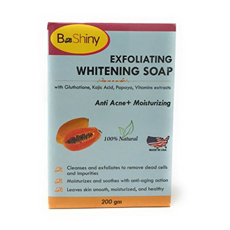 BeShiny Skin Lightening Brightening Soap with Glutathione Kojic Acid Papaya Vitamins Anti Acne Anti Aging Face Moisturizer 200 g to lighten blemishes dark spots Prevent Pimples and remove blackheads