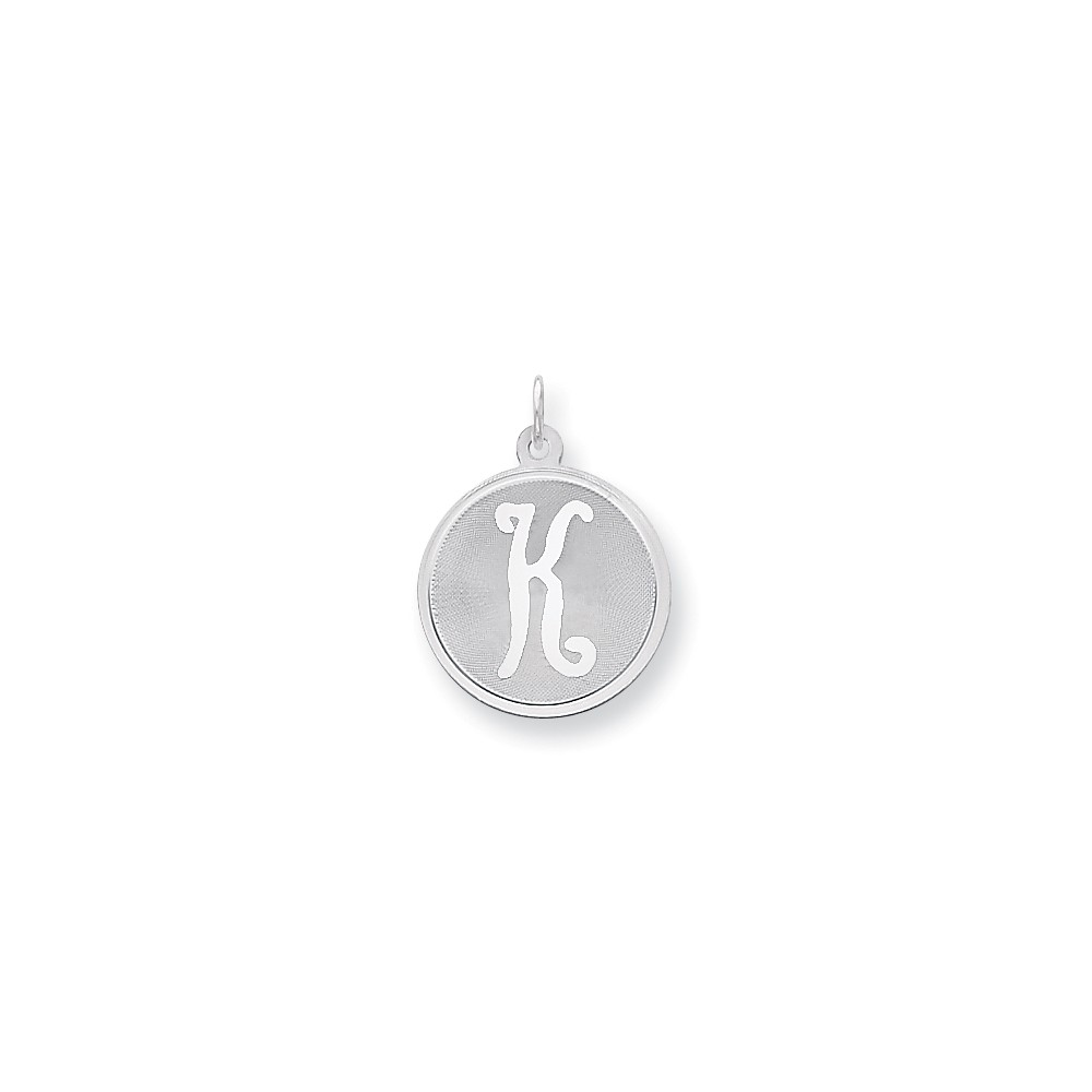Sterling Silver Engravable Brocaded Initial K Charm (1.1in long x 0.8in wide)