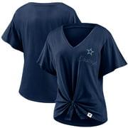 Dallas Cowboys Fanatics Branded Women's Sport Resort Tie Front V-Neck T-Shirt - Navy