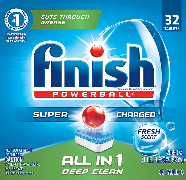Finish All in 1 Powerball Fresh, 32ct, Dishwasher Detergent Tablets
