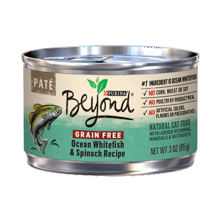 Purina Beyond Grain Free Pate Ocean Whitefish & Spinach Recipe Adult Wet Cat Food, 3 oz