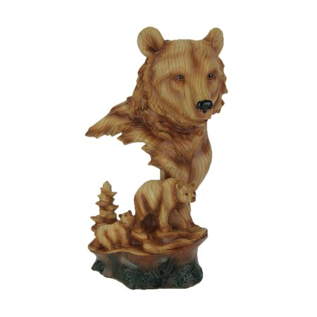 Faux Carved Bear Head and Family Wood Look Statue