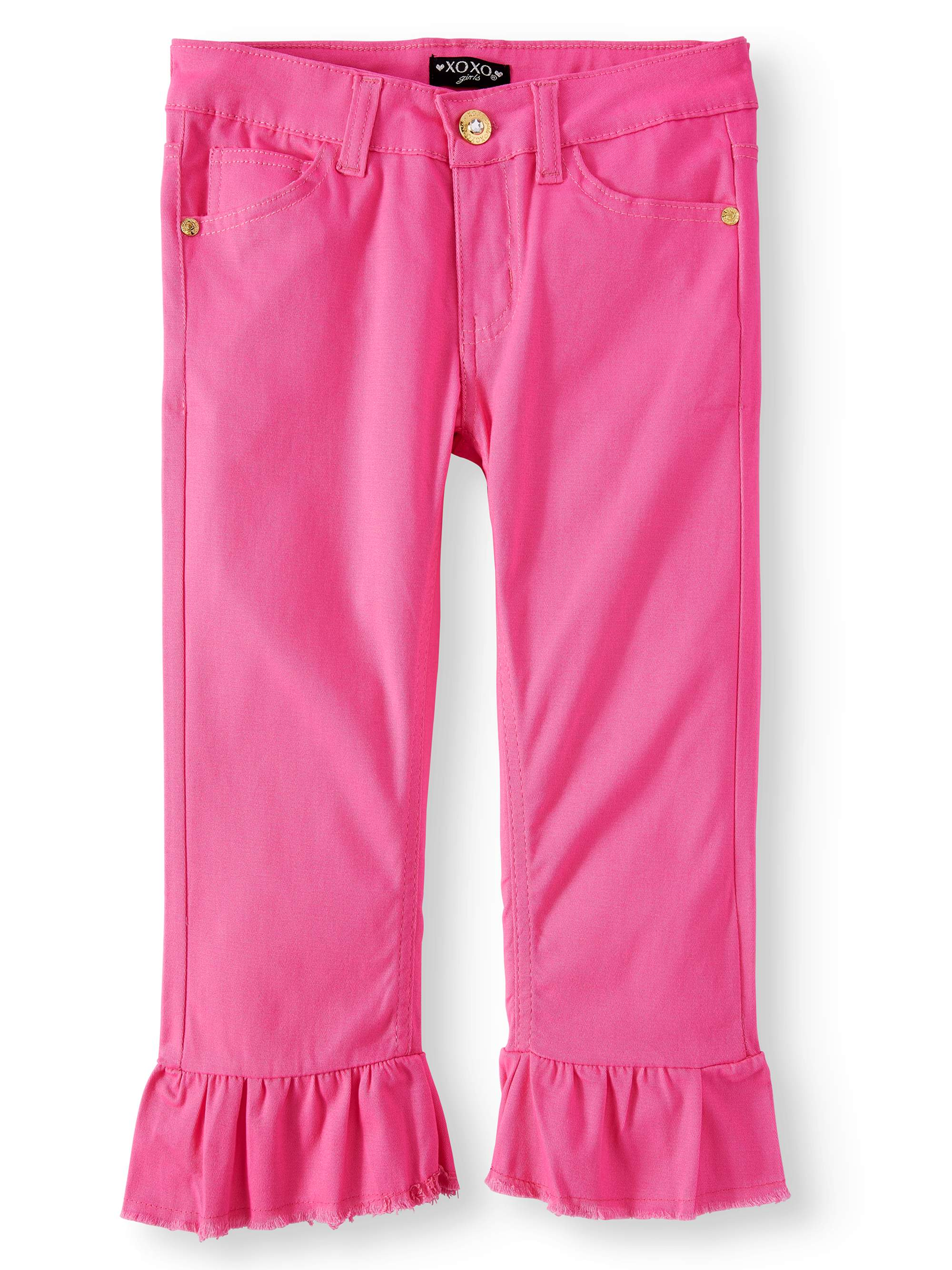 Girls' Ruffle Hem Stretch Twill Crop Pant