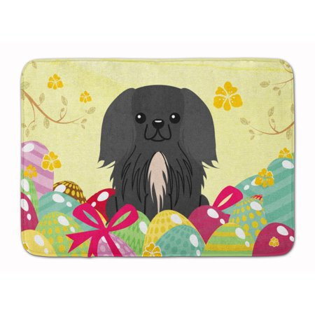 Easter Eggs Pekingnese Black Machine Washable Memory Foam Mat