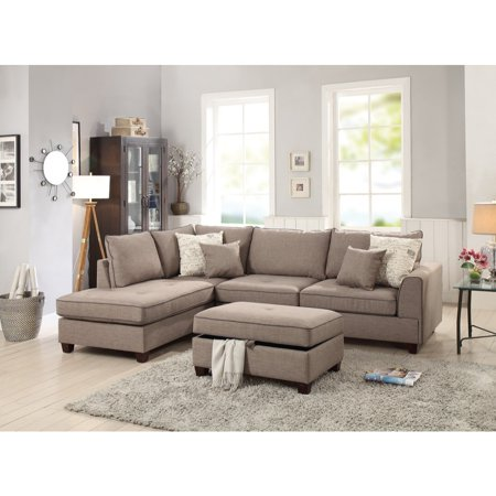 - Dorris Fabric 3 Piece Sectional With Storage Ottoman, Light Brown