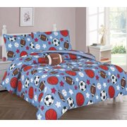 TWIN GAME DAY BOYS BEDDING SET, Beautiful Microfiber Comforter With Furry Friend and Sheet Set (6 Piece Kids Bed In A Bag)