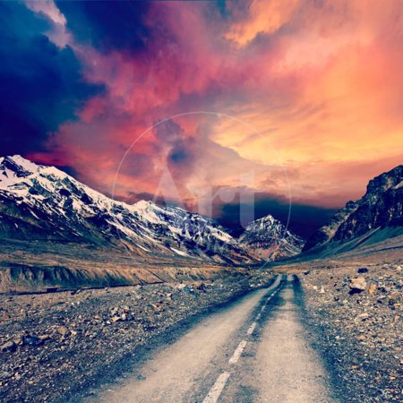 Vintage Retro Effect Filtered Hipster Style Travel Image of Road in Mountains Print Wall Art By f9photos