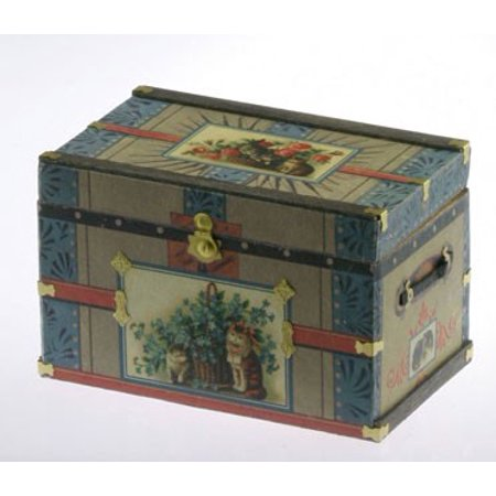 Dollhouse Lithograph Wooden Trunk Kit Victorian Cat