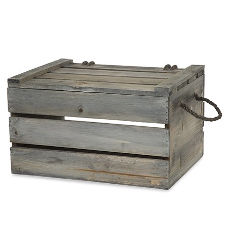 Antique Green Grey  Wooden Crate Storage Box with Lid - Medium (Wooden Container)