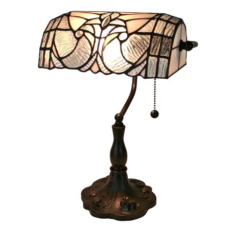 Floral One Light - Amora Lighting Tiffany Style AM250TL10 Floral Banker Tiffany Style Table Lamp 13 In