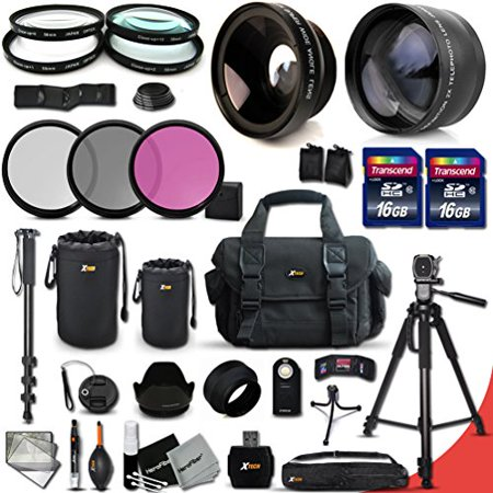 - Canon EOS Rebel T6S ACCESSORIES Kit Includes: 58mm 2X Telephoto Lens + 58mm  Wide Angle Lens + 32GB Memory Card + 16GB Memory Card (Total of 48GB) + Full Size 72 Inch Tripod + Large Well Padded Case