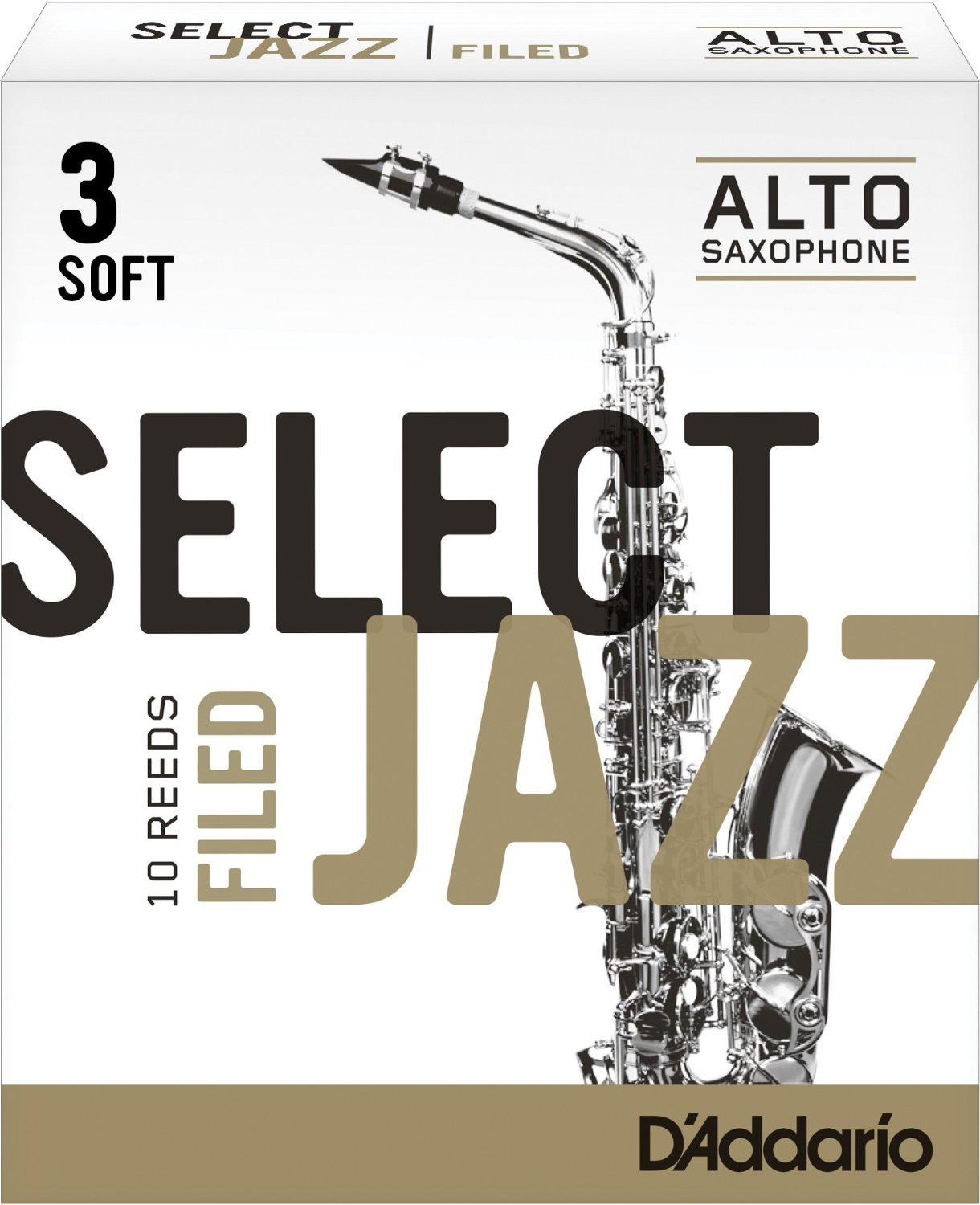 Daddario Select Jazz Filed Eb Alto Sax Reeds 10 ct 3 Strength by Rico
